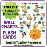 English Subject Pronouns Chart and individual flash cards